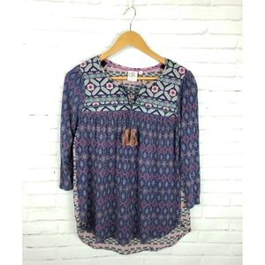 Anthro One September Boho Embroidered Peasant Top
